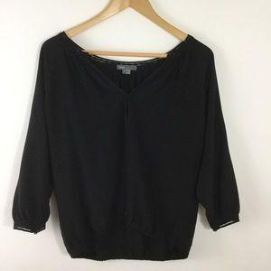Vince Black V Neck Blouse Shirt Silk Long Sleeve